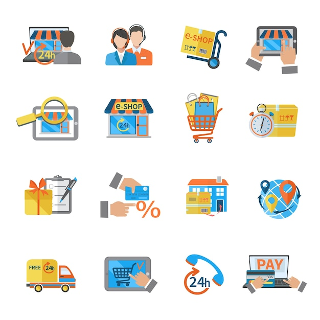Einkaufen e-commerce-symbol Kostenlosen Vektoren
