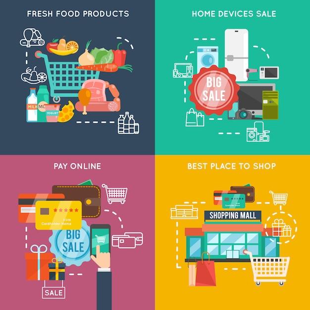 Einkaufen flach eingestellt Kostenlosen Vektoren