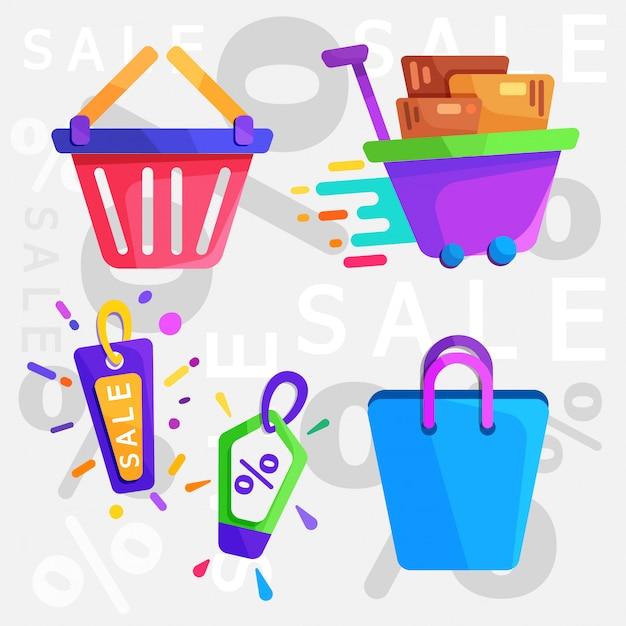 Einkaufen flache symbol Premium Vektoren