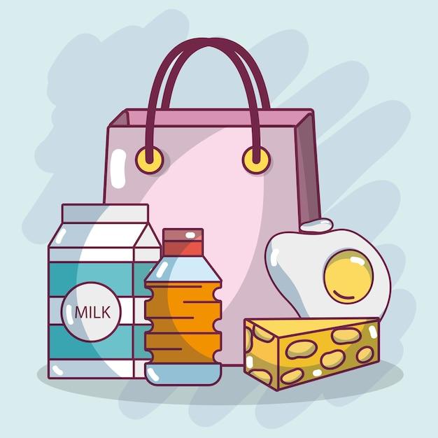 Einkaufen frühstück essen Premium Vektoren