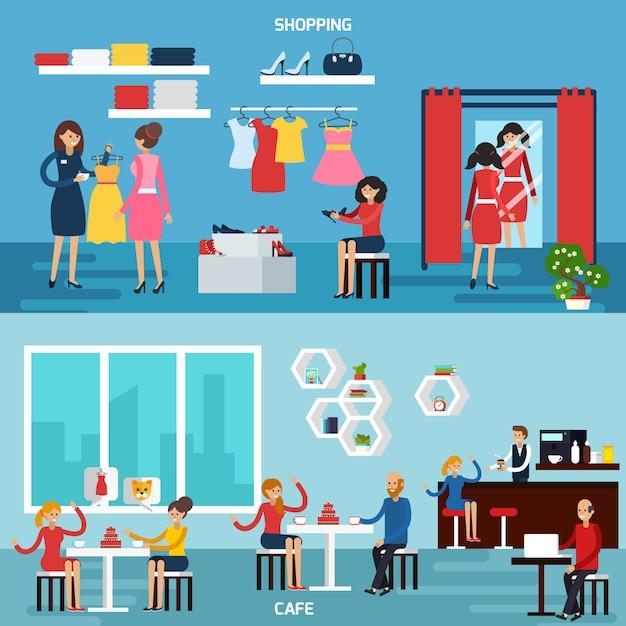 Einkaufen und café-banner eingestellt Kostenlosen Vektoren