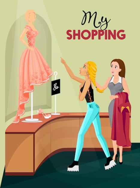 Einkaufenmädchen in der speicherinnenraumillustration Kostenlosen Vektoren