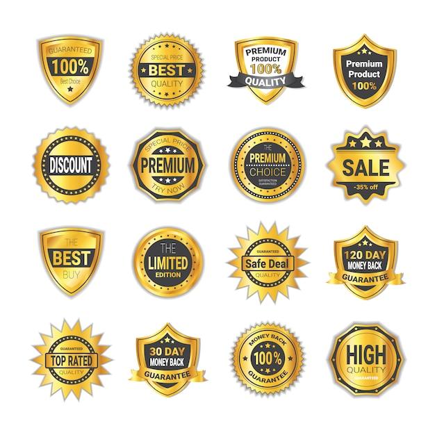 Einkaufsausweis-gesetzte verkaufsrabatte oder erstklassige qualitätsschilder lokalisiert Premium Vektoren