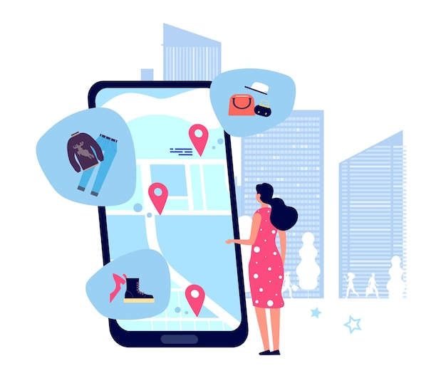 Einkaufsführer app. frau, die nach geschäften auf der karte sucht. illustration mobile app standort gps online zum einkaufen Premium Vektoren