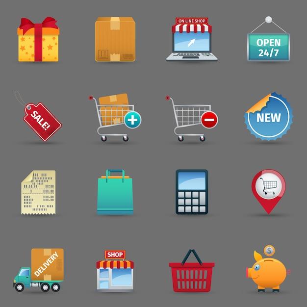 Einkaufsikonen eingestellt Kostenlosen Vektoren