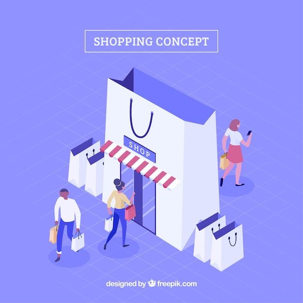 Einkaufskonzept mit leuten in der isometrischen ansicht Kostenlosen Vektoren