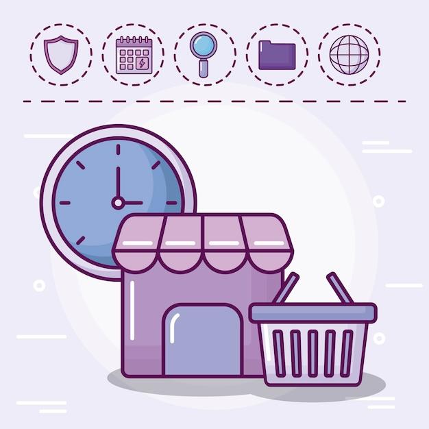 Einkaufskorb mit eingestellten ikonen Kostenlosen Vektoren