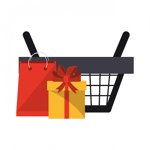 Einkaufskorb mit geschenkbox und tasche Premium Vektoren