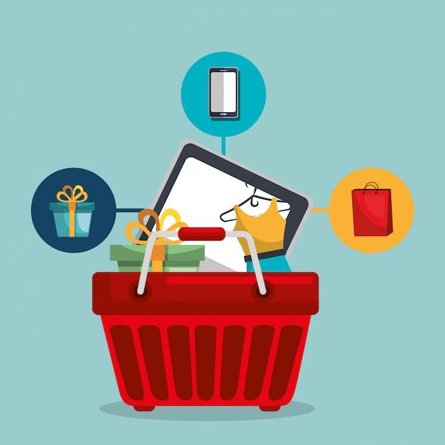 Einkaufskorb mit marketing stellen icons Kostenlosen Vektoren