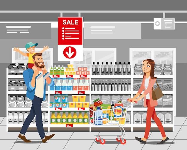 Einkaufslebensmittel im verkauf karikatur-vektor-konzept Premium Vektoren