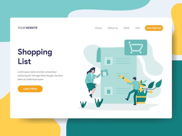 Einkaufsliste für website-seite Premium Vektoren