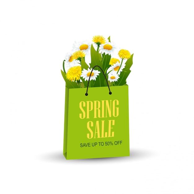Einkaufstasche mit frühlingsblumen Premium Vektoren