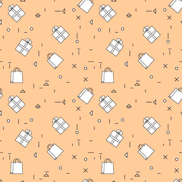 Einkaufstaschen und geschenkboxen nahtlose muster thine line Premium Vektoren
