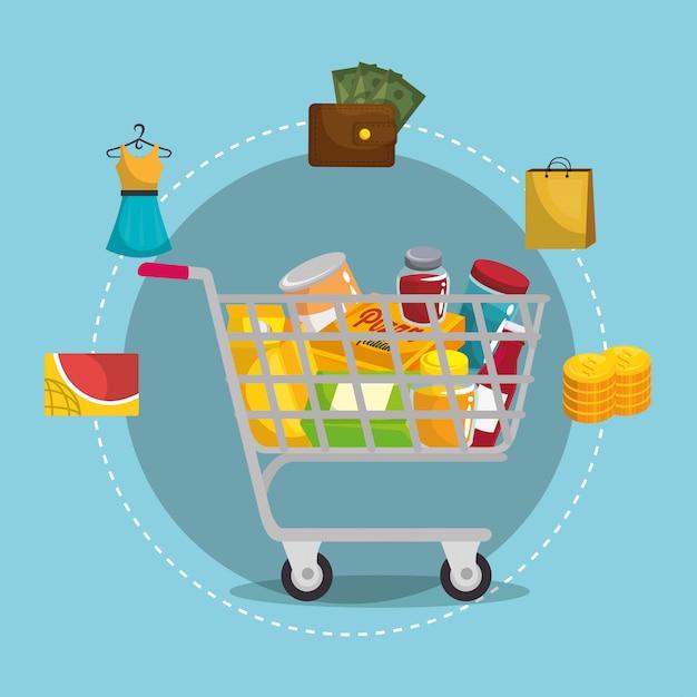 Einkaufswagen mit marketing-set Kostenlosen Vektoren