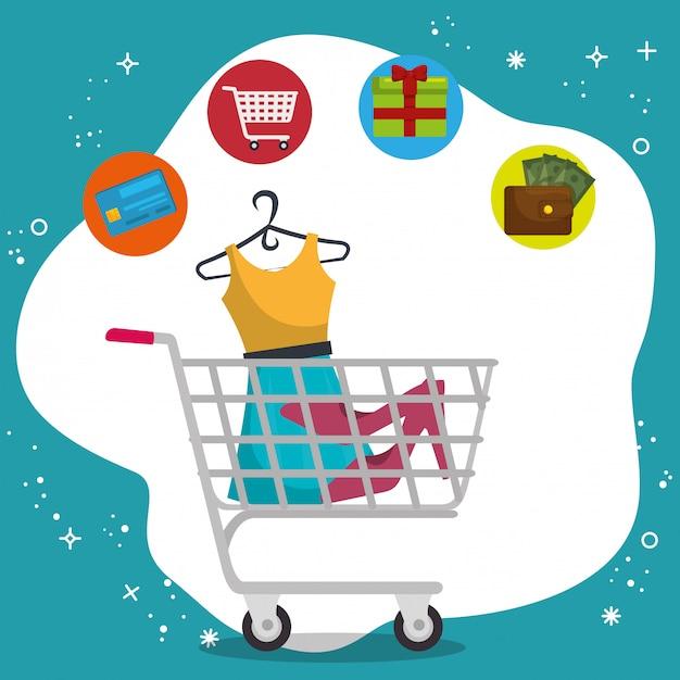 Einkaufswagen mit marketing stellen icons Kostenlosen Vektoren