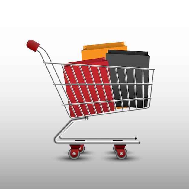 Einkaufswagen und taschen Premium Vektoren