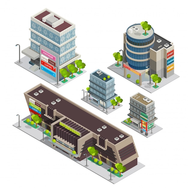 Einkaufszentrum-gebäude-komplexe isometrische zusammensetzung Kostenlosen Vektoren