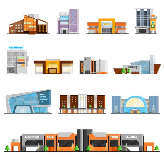 Einkaufszentrum icons set Kostenlosen Vektoren