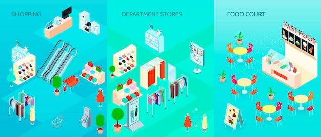 Einkaufszentrum-isometrische fahnen eingestellt Kostenlosen Vektoren