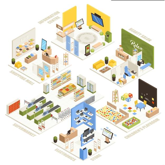 Einkaufszentrum isometrische komposition poster Kostenlosen Vektoren
