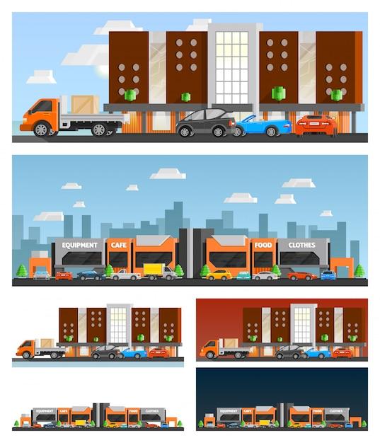 Einkaufszentrum und stadtkompositionen Kostenlosen Vektoren