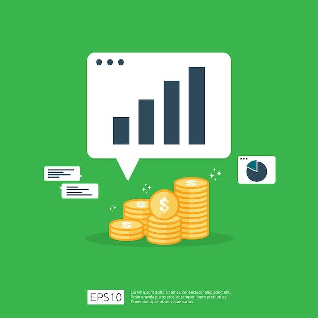 Einkommenslohn-dollar-zinserhöhungsstatistik. umsatz mit gewinnwachstumsmargen. finanzleistung des anlagenrendite-roi-konzepts mit pfeil. kosten verkauf symbol flache Premium Vektoren