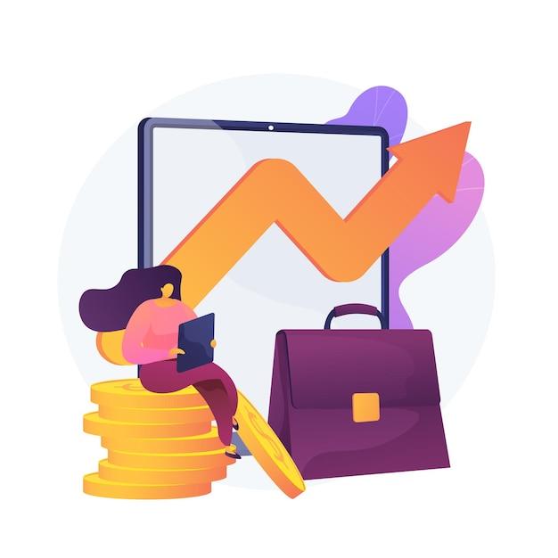 Einkommenswachstum, profitables geschäft, erfolgreicher handel. workflow, gewinnschwankung, pfeil der umsatzkurve. zeichentrickfigur des geschäftsinhabers. vektor isolierte konzeptmetapherillustration. Kostenlosen Vektoren