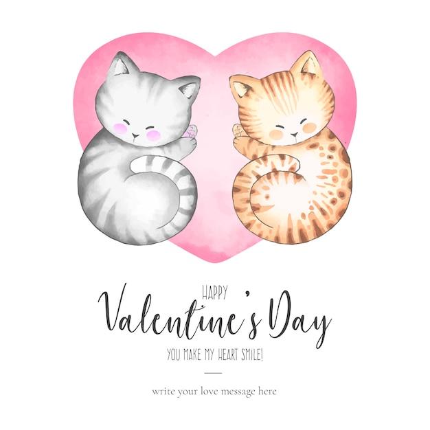 Einladung des niedlichen valentinsgrußes mit reizenden katzen Kostenlosen Vektoren