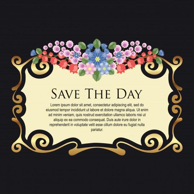 Einladung Hochzeit Blumen Vintage Download Der Premium Vektor