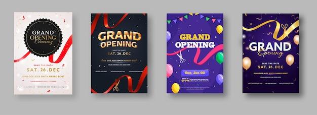 Einladung zur feierlichen eröffnung oder flyer-design in vier farboptionen Premium Vektoren
