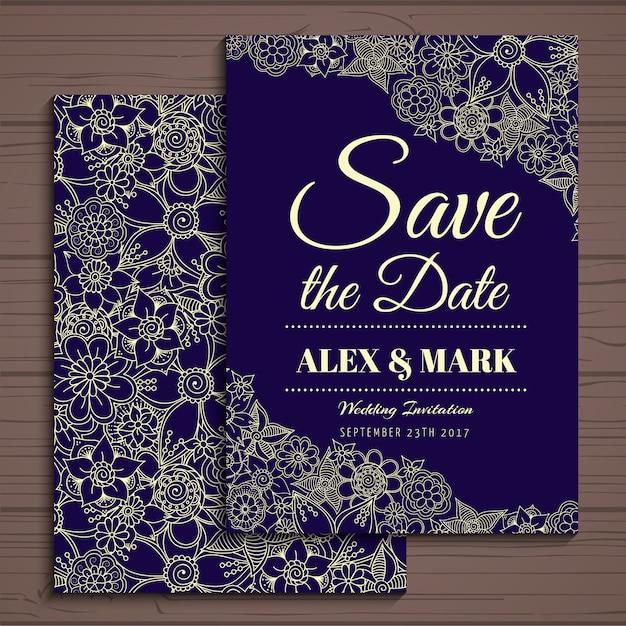 Einladung zur Hochzeit Design Kostenlose Vektoren