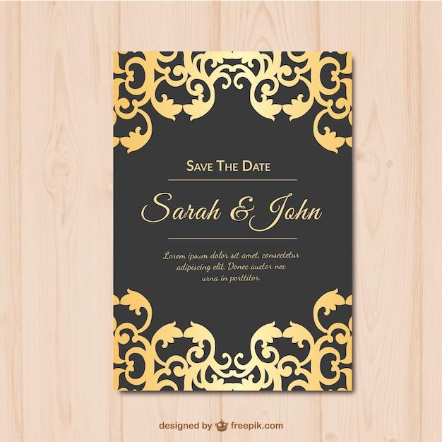 Einladung Zur Hochzeit Gold Und Schwarz Kostenlose Vektoren
