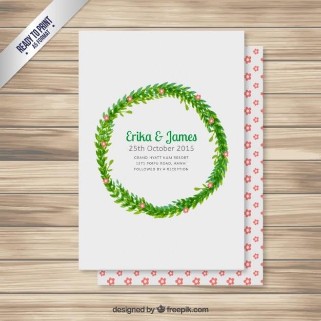 Einladung Zur Hochzeit Mit Blumenkranz Download Der Kostenlosen Vektor