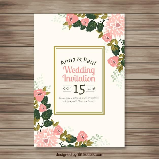 Einladung Zur Hochzeit Mit Hubschen Blumen Details Download Der