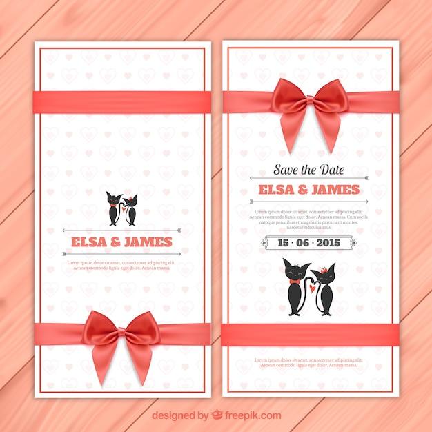 Elegant Einladung Zur Hochzeit Mit Niedlichen Katzen Kostenlose Vektoren