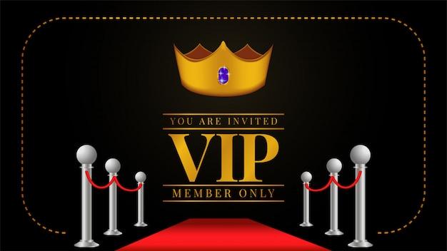 Einladung zur vip-mitgliedskarte mit goldener krone Premium Vektoren
