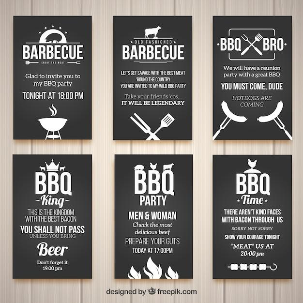 Einladungen für einen grill, schwarze farbe Kostenlosen Vektoren