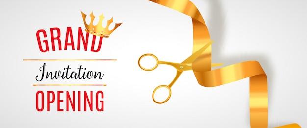 Einladungsbanner der eröffnung. golden ribbon cut zeremonie veranstaltung. feierliche eröffnungskarte Premium Vektoren