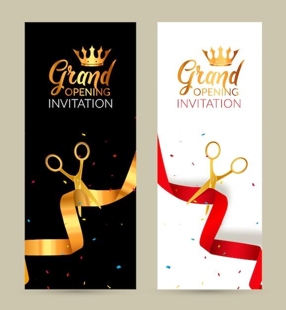 Einladungsbanner der eröffnung. golden ribbon und red ribbon cut zeremonie veranstaltung. feierliche eröffnungskarte Premium Vektoren