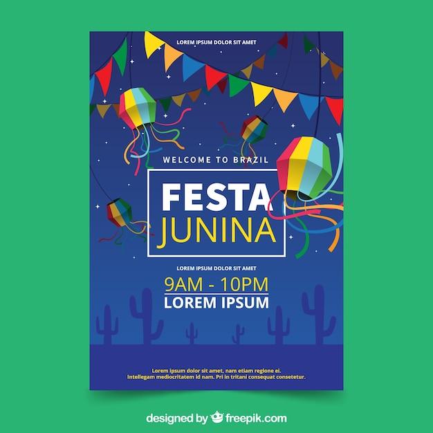 Einladungsflieger festa junina mit fieldat nacht Kostenlosen Vektoren