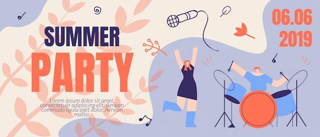 Einladungsflyer sommerfest banner ticket bestellen Premium Vektoren