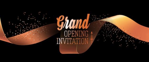 Einladungskarte der grand opening mit goldband Kostenlosen Vektoren