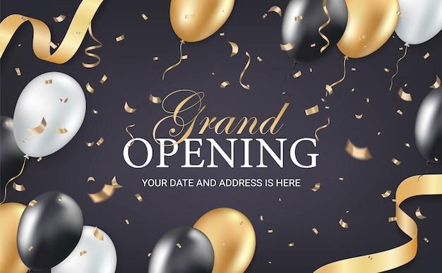 Einladungskarte der großen eröffnungsparty Premium Vektoren