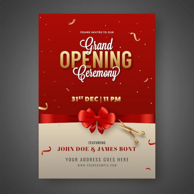 Einladungskarte der großen eröffnungszeremonie geschlossen mit rotem bogenband und goldener schere Premium Vektoren
