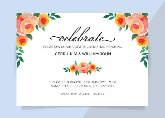 Einladungskarte für abendessenfeier mit aquarellblumen-rahmengrenze Premium Vektoren