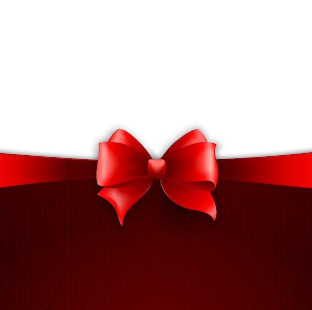 Einladungskarte mit rotem feiertagsband und -bogen Premium Vektoren