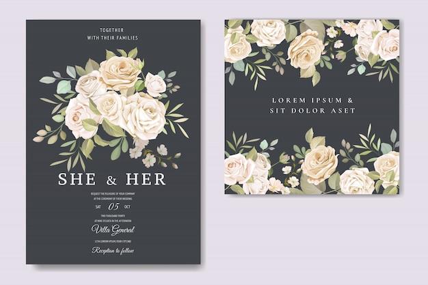 Einladungskarte mit schönen floralen vorlage Premium Vektoren