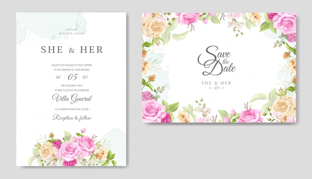 Einladungskarte mit schönen gelben und rosa rosen vorlage Premium Vektoren
