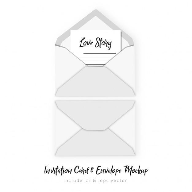 Einladungskarte & umschlagmodell Premium Vektoren
