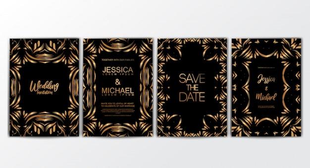 Einladungskarten mit luxuriösem konzept Premium Vektoren